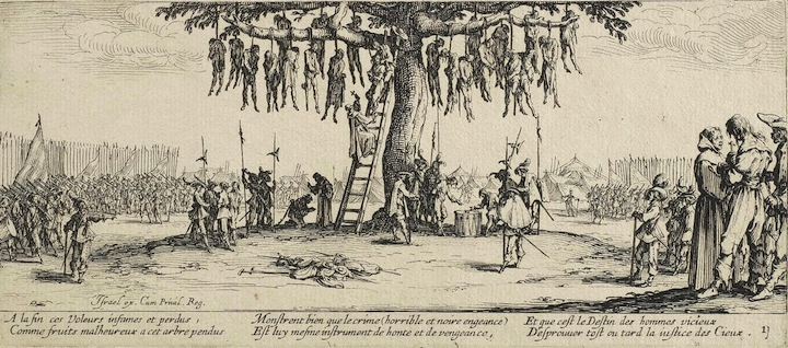 http://commons.wikimedia.org/wiki/File:The_Hanging_by_Jacques_Callot.jpg