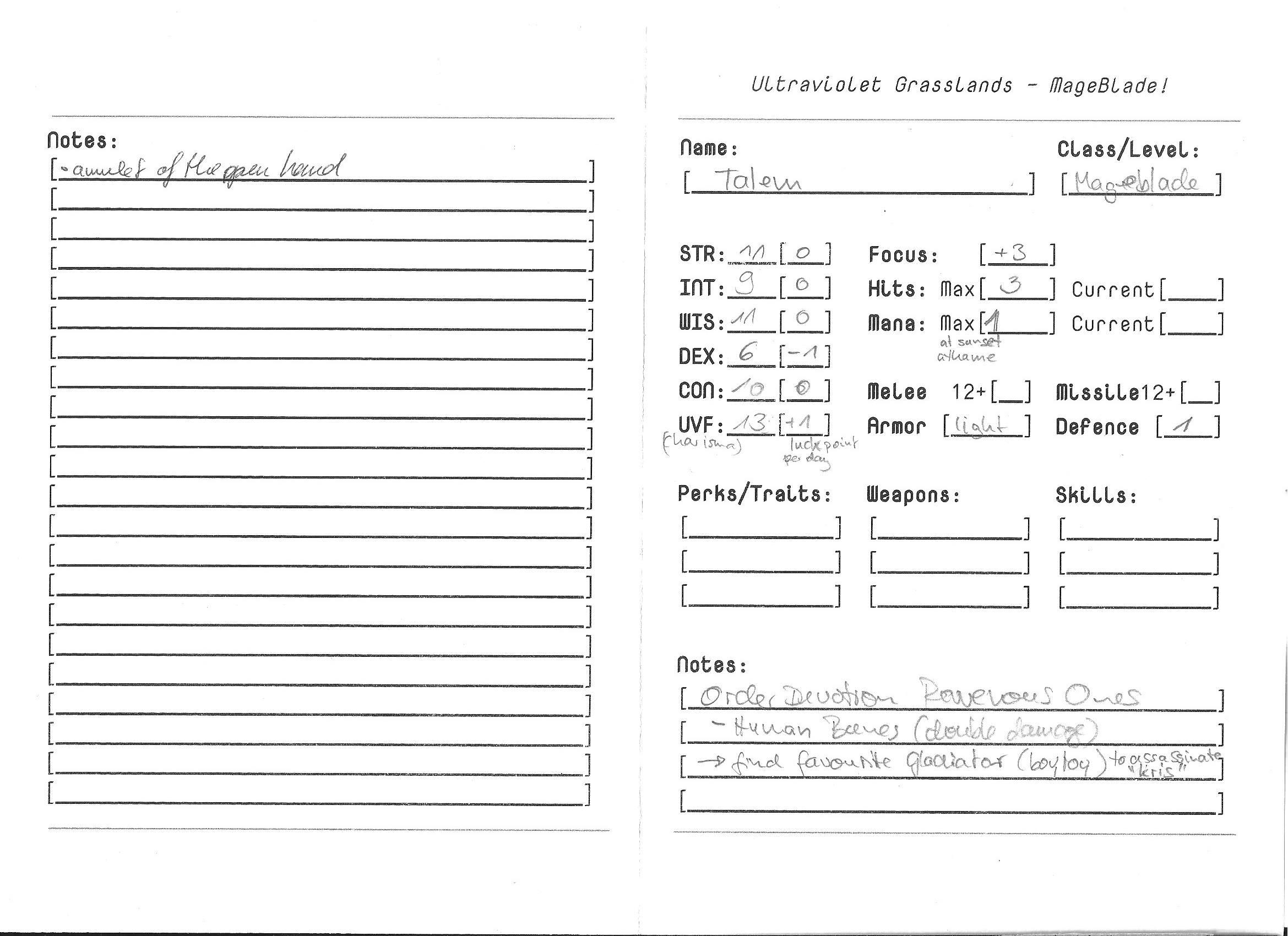 Talem Character Sheet