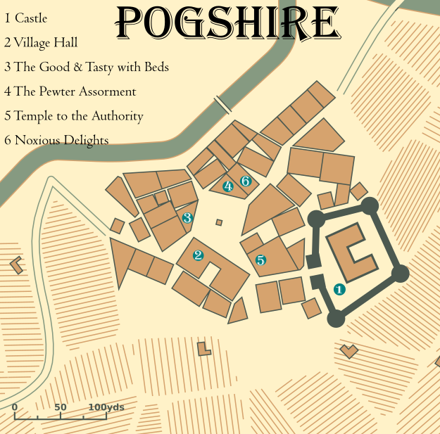 A map of the village of Pogshire